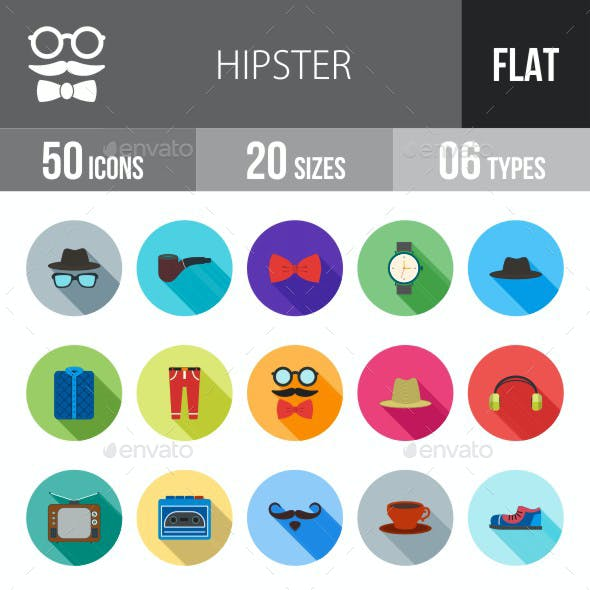 Hipster Flat Shadowed Icons