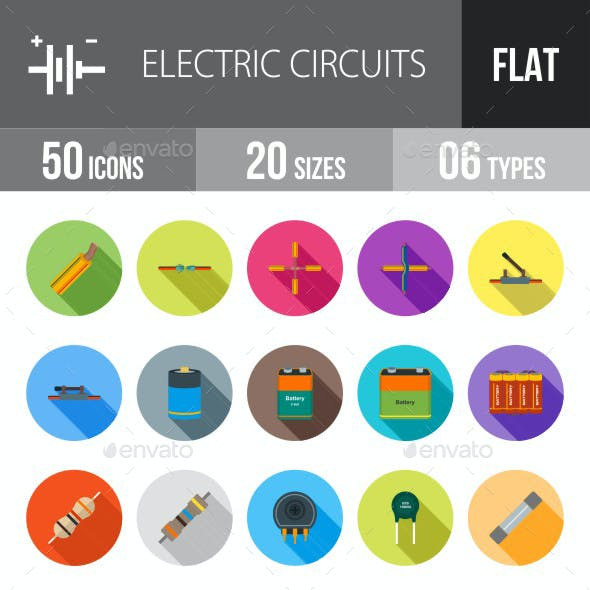 Electric Circuits Flat Shadowed Icons