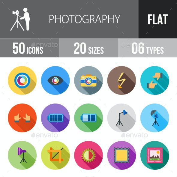 Photography Flat Shadowed Icons