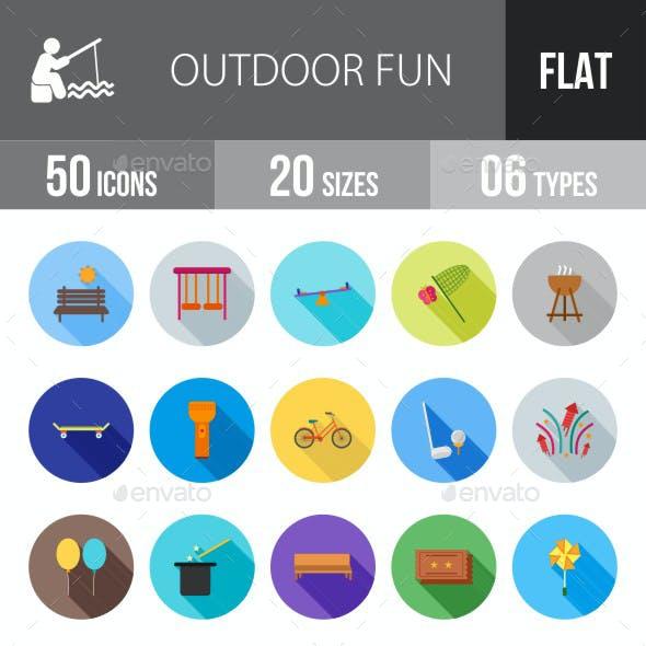 Outdoor Fun Flat Shadowed Icons