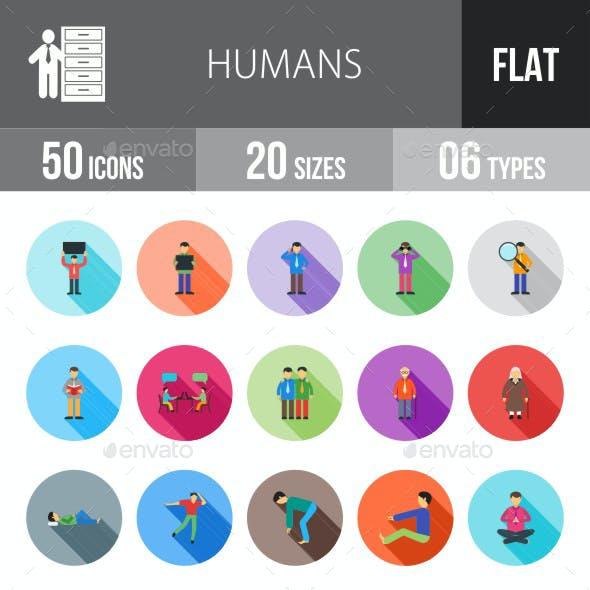 Humans Flat Shadowed Icons