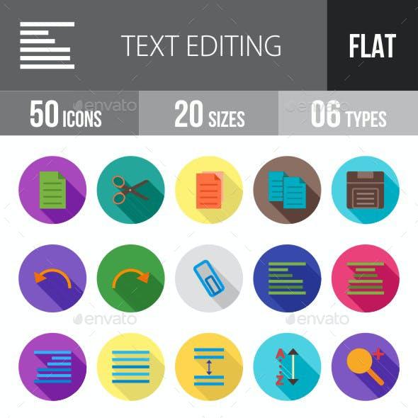 Text Editing Flat Shadowed Icons