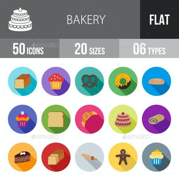 Bakery Flat Shadowed Icons