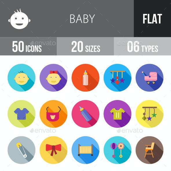 Baby Flat Shadowed Icons