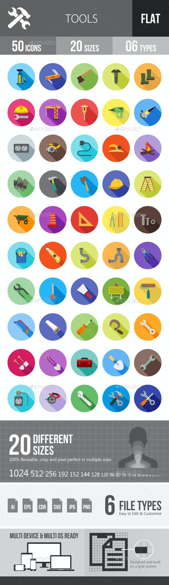 Tools Flat Shadowed Icons - Icons