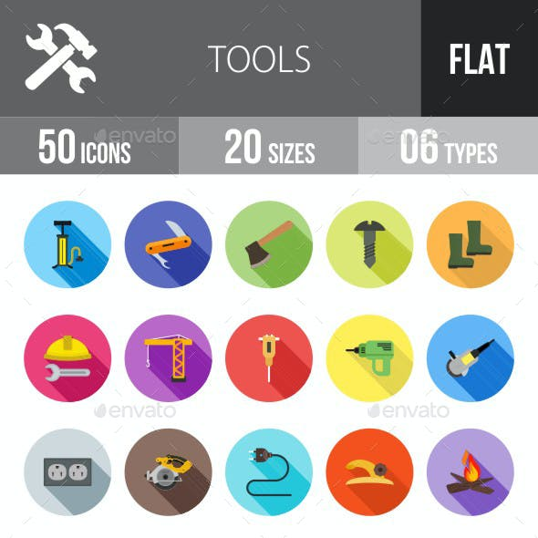 Tools Flat Shadowed Icons