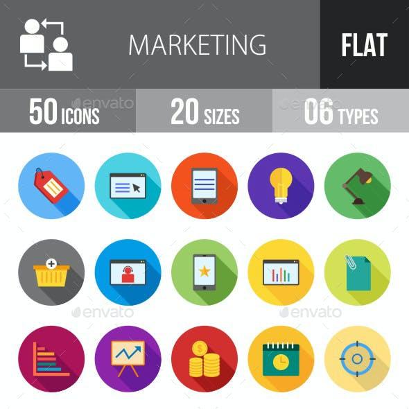 Marketing Flat Shadowed Icons