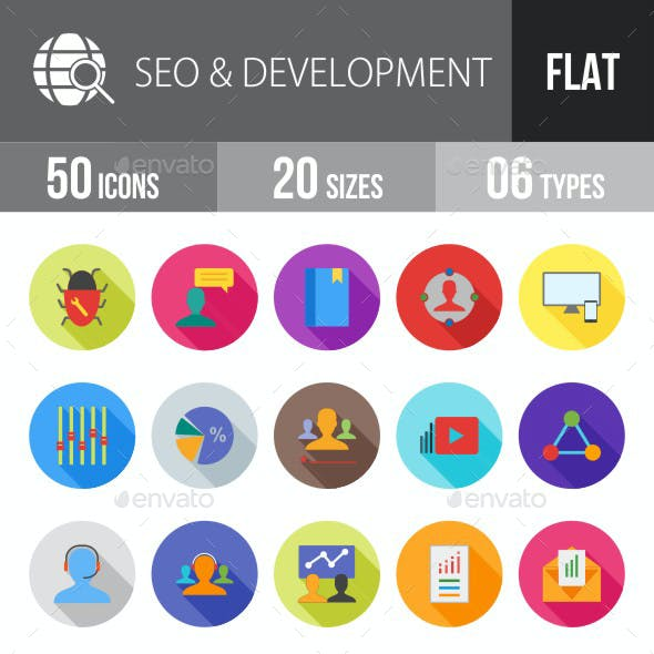SEO & Development Services Flat Shadowed Icons