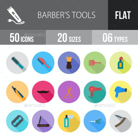 Barber's Tools Flat Shadowed Icons