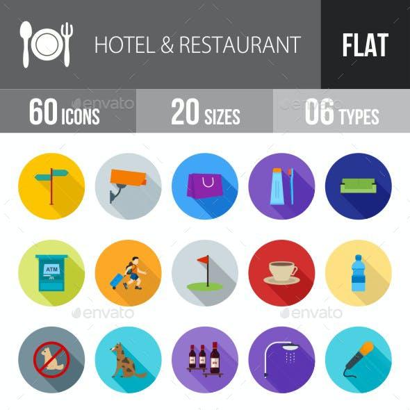 Hotel & Restaurant Flat Shadowed Icons