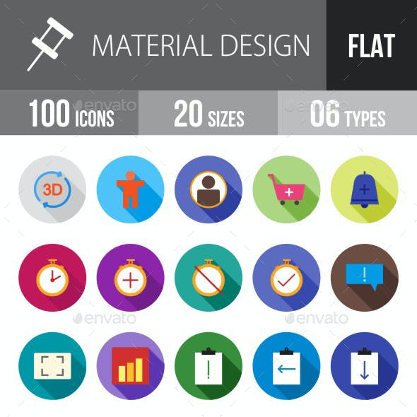 Material Design Flat Shadowed Icons