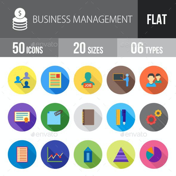 Business Management Flat Shadowed Icons