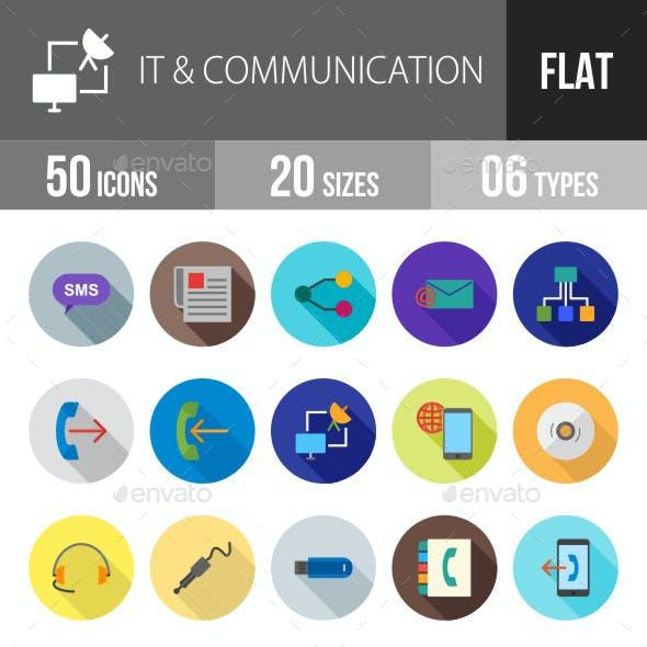 IT & Communication Flat Shadowed Icons