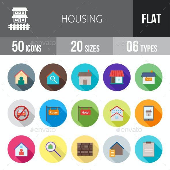 Housing Flat Shadowed Icons