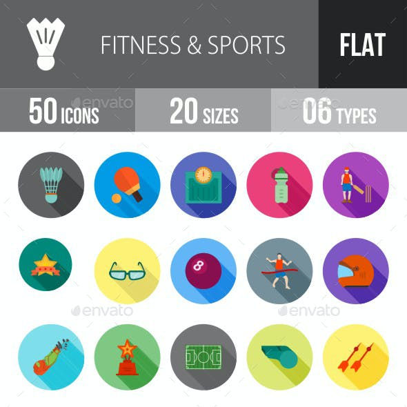 Fitness & Sports Flat Shadowed Icons