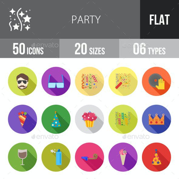 Party Flat Shadowed Icons