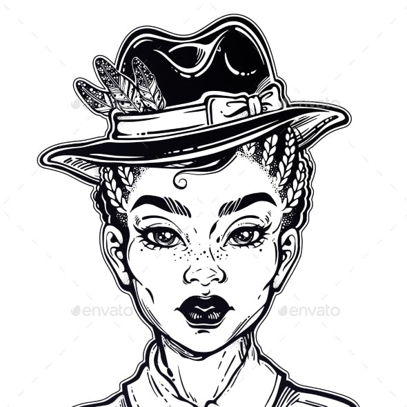 Portrait a Woman in Shirt and Hat
