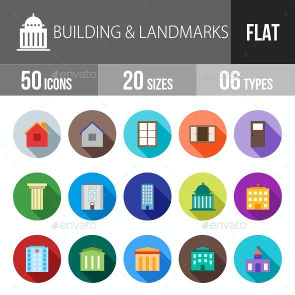 Building & Landmarks Flat Shadowed Icons