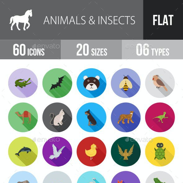 Animals & Insects Flat Shadowed Icons