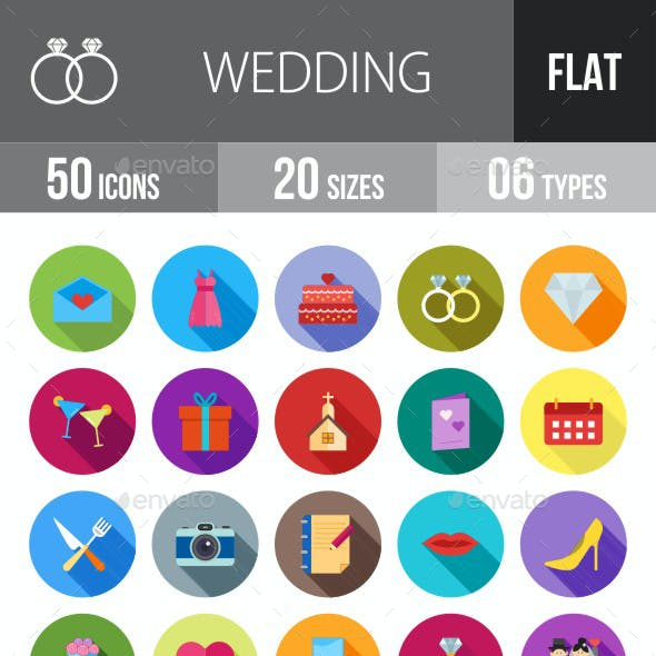 Wedding Flat Shadowed Icons