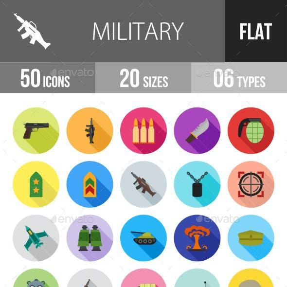 Military Flat Shadowed Icons