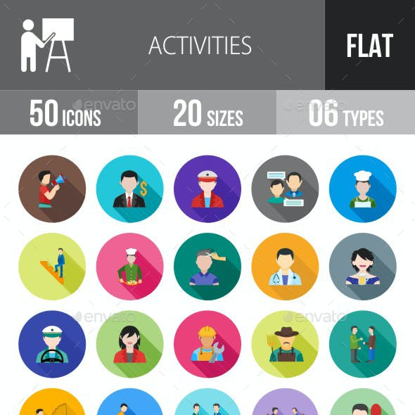 Activities Flat Shadowed Icons
