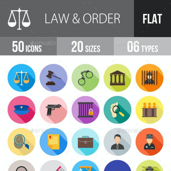 Law & Order Flat Shadowed Icons