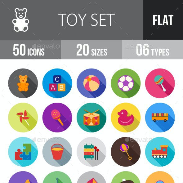Toys Flat Shadowed Icons