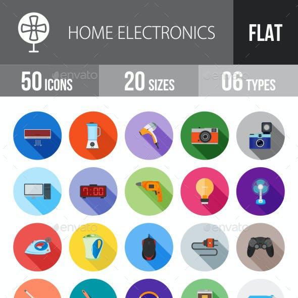 Home Electronics Flat Shadowed Icons