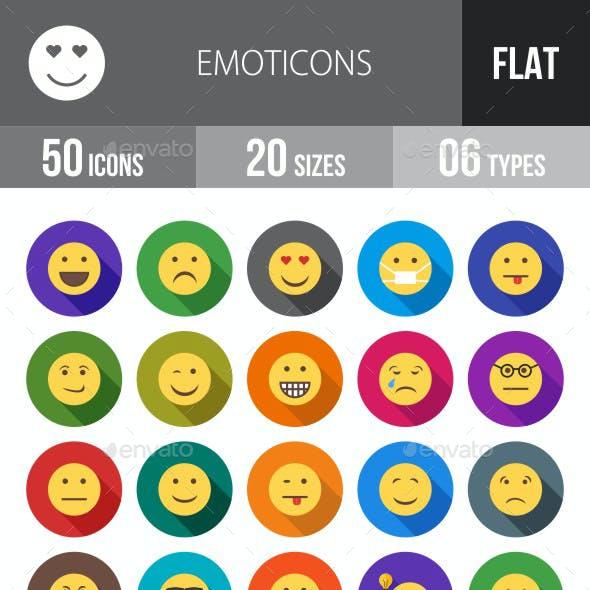Emoticons Flat Shadowed Icons