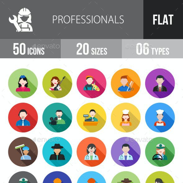 Professionals Flat Shadowed Icons