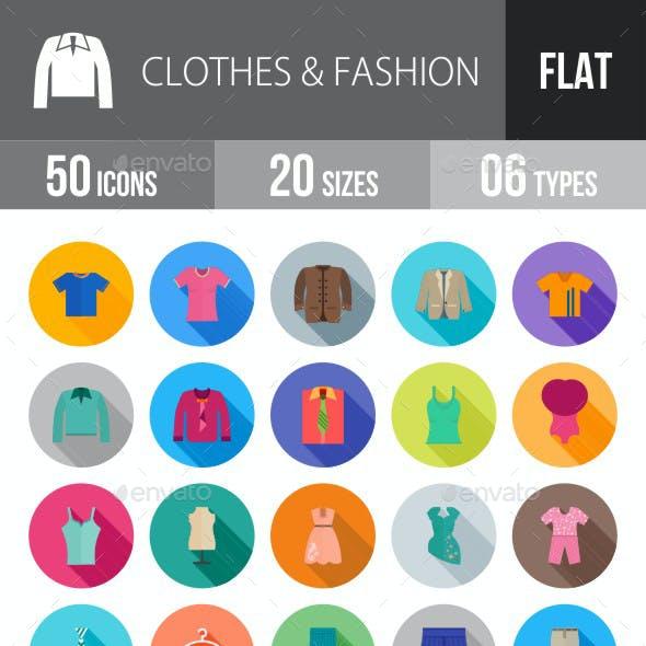 Clothes & Fashion Flat Shadowed Icons