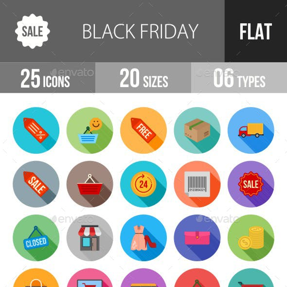 Black Friday Flat Shadowed Icons
