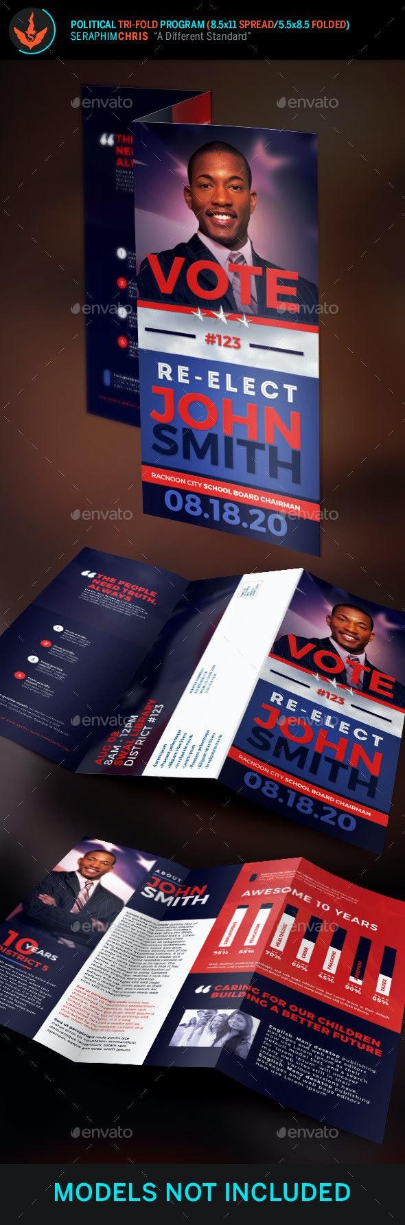 Re-Election Political Tri-Fold Brochure Template - Corporate Brochures