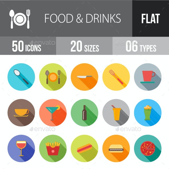 Food & Drinks Flat Shadowed Icons