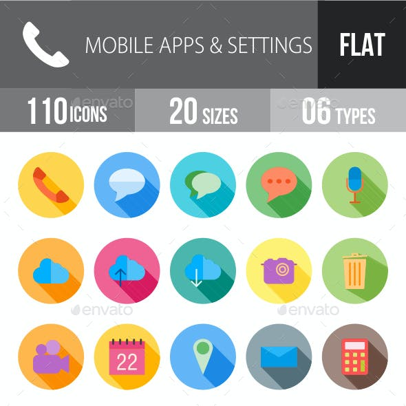 Mobile Apps & Settings Flat Shadowed Icons