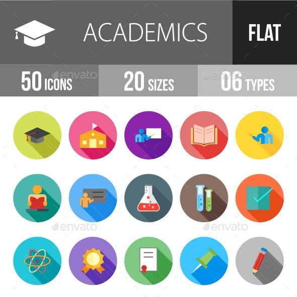 Academics Flat Shadowed Icons