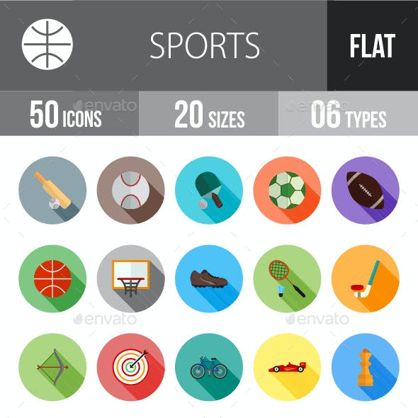 Sports Flat Shadowed Icons