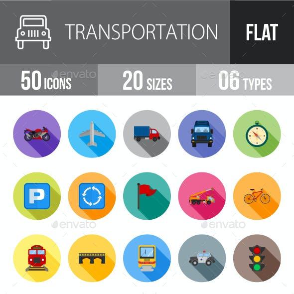 Transport Flat Shadowed Icons