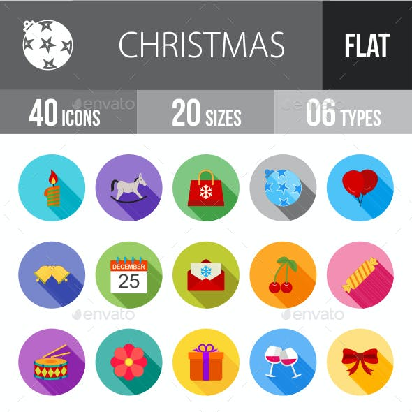 Christmas Flat Shadowed Icons