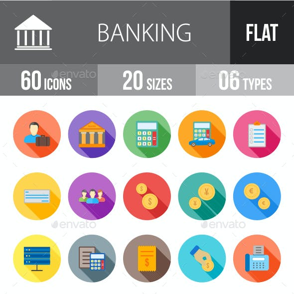 Banking Flat Shadowed Icons