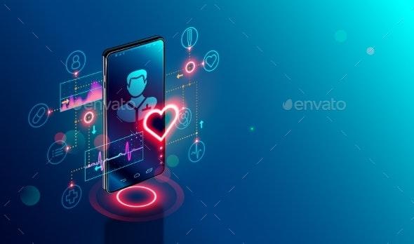 Online medicine isometric concept. Medical consultation and treatment via application of smartphone - Health/Medicine Conceptual