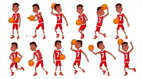 Basketball Player Child Set Vector - People Characters