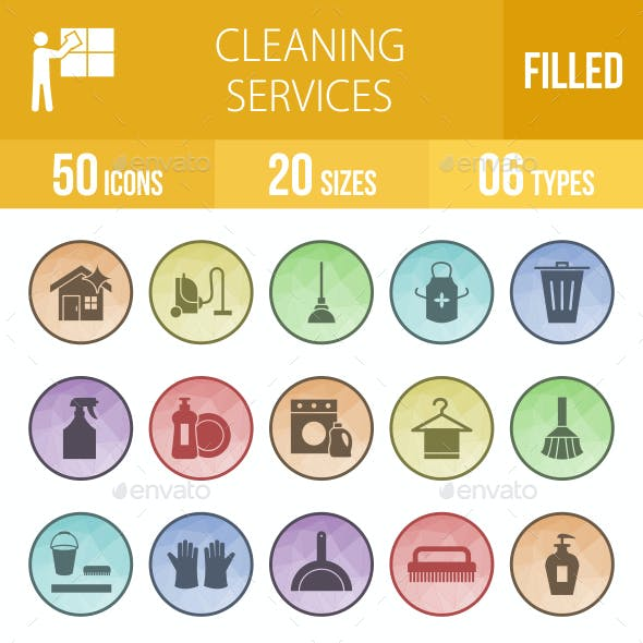 Cleaning Services Filled Low Poly B/G Icons