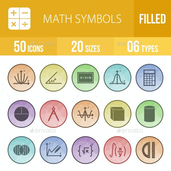 Math Symbols Filled Low Poly B/G Icons