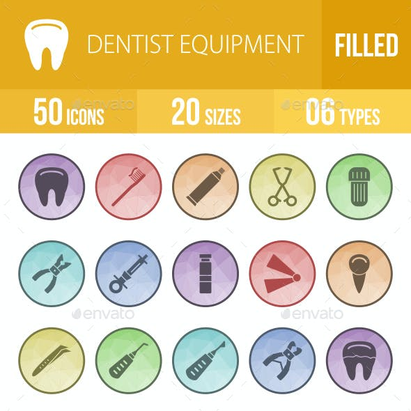 50 Dentist Equipment Filled Low Poly B/G Icons