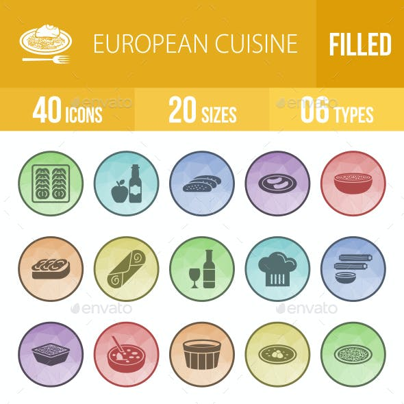 40 European Cuisine Filled Low Poly B/G Icons