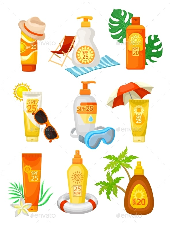 Flat Vector Set of Bottles and Tubes of Sunscreen - Miscellaneous Vectors
