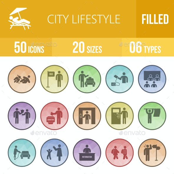 50 City Lifestyle Filled Low Poly B/G Icons