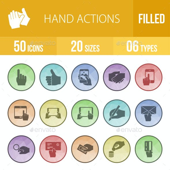 Hand Actions Filled Low Poly B/G Icons